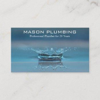 water drop splash - plumber - business card