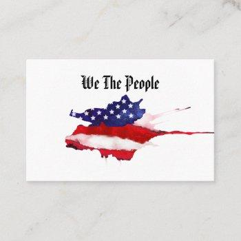 *~* watercolor american flag we the people business card