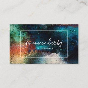 watercolor artsy creative script abstract business card