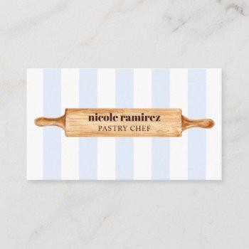 watercolor bakers rolling pin patisserie striped business card