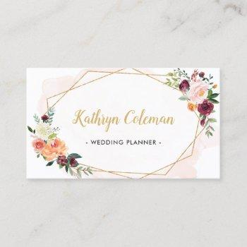 watercolor bloom floral modern geometric frame business card