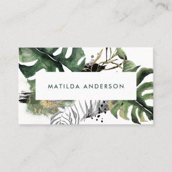 watercolor botanical foliage and gold details business card