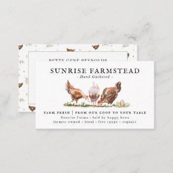 watercolor chickens | farm fresh eggs business card