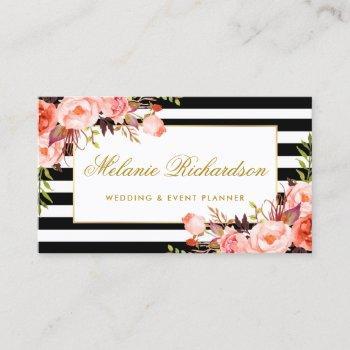 watercolor coral floral elegant gold black striped business card