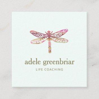 watercolor dragonfly logo holistic healer wellness square business card