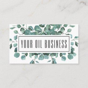 watercolor eucalyptus branches essential oil business card