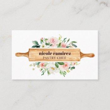 watercolor floral bakery rolling pin patisserie business card