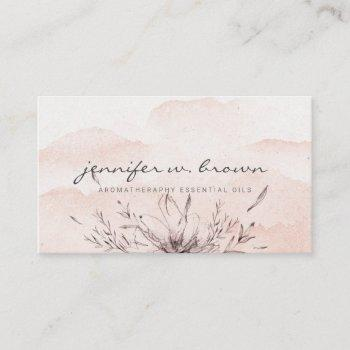 watercolor floral custom essential oils business card