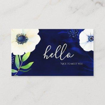watercolor floral navy blue hello business card