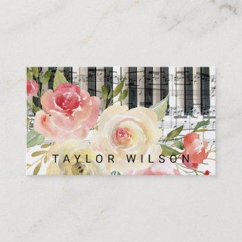 watercolor floral pianist music teacher business card