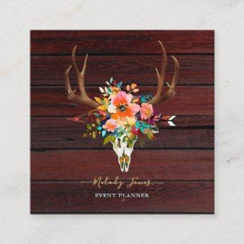 watercolor flowers, rustic boho skull+arrow+wood square business card