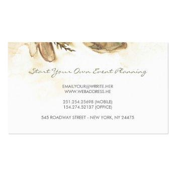 Small Watercolor Flowers Vintage Maroon Elegant Business Card Back View