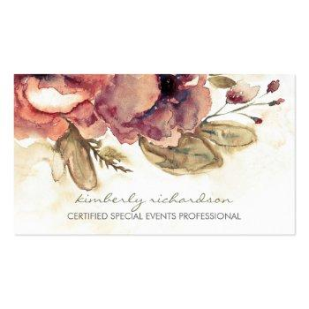 Small Watercolor Flowers Vintage Maroon Elegant Business Card Front View