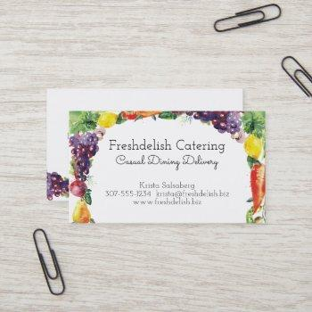 watercolor fruit vegetable catering business card