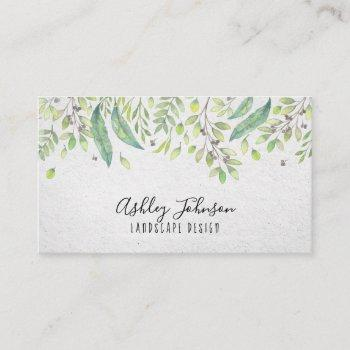 watercolor greenery hand lettered typography business card