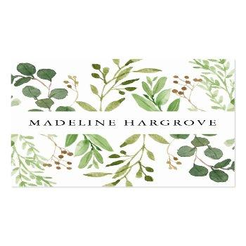 Small Watercolor Greenery | Square Business Card Front View