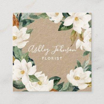 watercolor magnolia wreath white type square kraft square business card