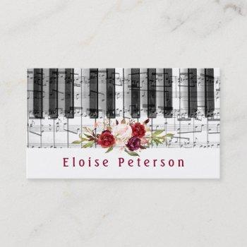 watercolor marsala peonies pianist business card