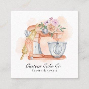 watercolor mixer cake + bakery business card