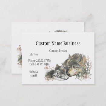 watercolor mother or father wolf with cubs business card