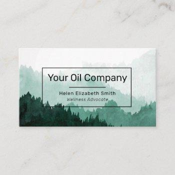 watercolor mountain landscape essential oils business card
