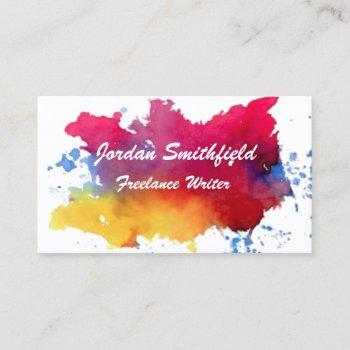 watercolor paint business card