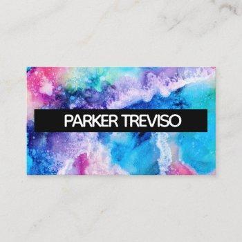 watercolor paint color block simple business card