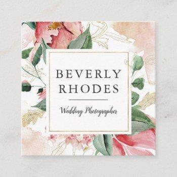 watercolor roses square business card