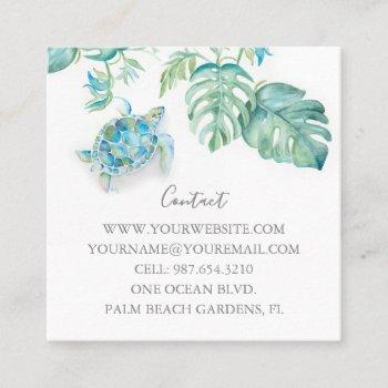 watercolor sea turtle tropical greenery square business card