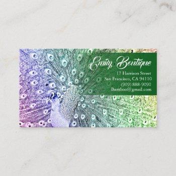 watercolor sketch peacock with fancy tail feathers business card