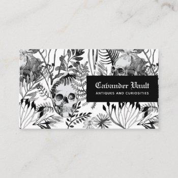 watercolor skull garden business card