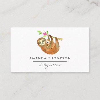 watercolor sloth themed babysitter business card