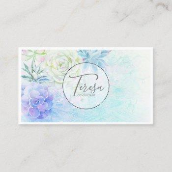 watercolor succulent pastel id567 business card