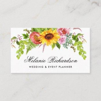 watercolor sunflower floral gold business card