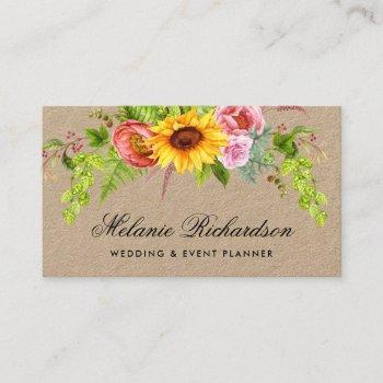 watercolor sunflower floral kraft business card