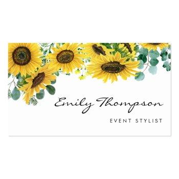 Small Watercolor Sunflowers And Eucalyptus Leaves Script Business Card Front View