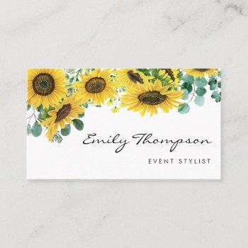 watercolor sunflowers and eucalyptus leaves script business card
