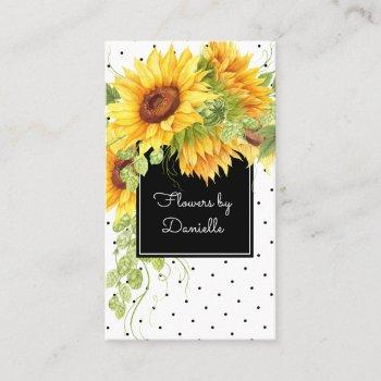 watercolor sunflowers bouquet and polka dots business card
