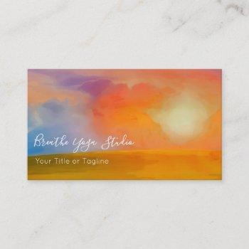 watercolor sunrise over golden field business card