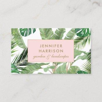 watercolor tropical leaves pattern designer business card