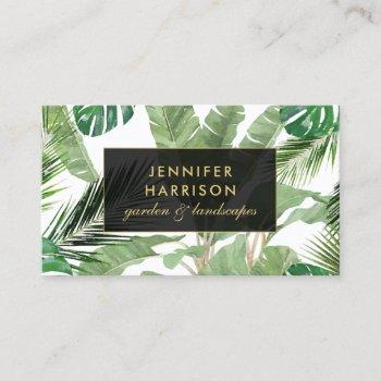 watercolor tropical leaves pattern on white business card