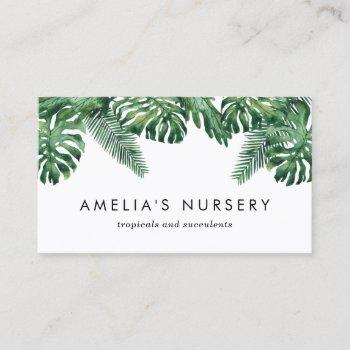 watercolor tropical plants greenery nursery business card