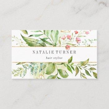 watercolor wild green foliage appointment reminder business card