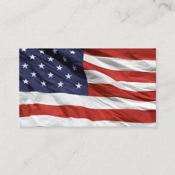 waving american stars and stripes business card