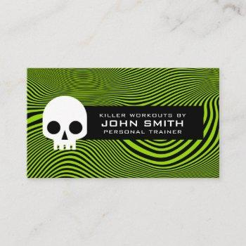 wavy lines & skull modern loyalty business card