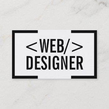 web design plain bold black border elegant business card