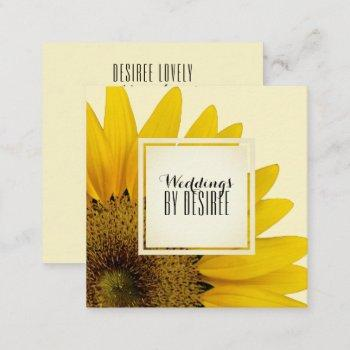wedding planner   yellow sunflower floral square business card