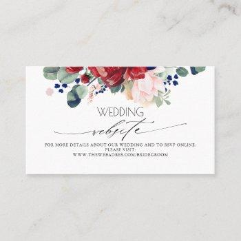 wedding website burgundy and navy blue floral business card
