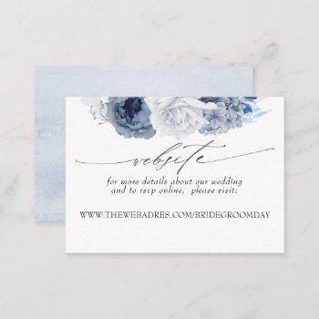 wedding website dusty blue flowers business card