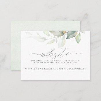 wedding website gold greenery business card